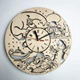 Aladdin and Jasmine アラジン木製掛け時計ー完璧で美しく作られたー現代アートで自宅を飾ろうー彼と彼女にユニークなギフトーサイズ12インチ(30 ㎝)
