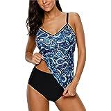 CharmLeaks Women's Printed Tankini Swimsuit Cross Back Two Piece Swimwear Set