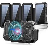 ソーラーモバイルバッテリー ワイヤレス充電付き ソーラーチャージャー モバイルバッテリー 30000mAh 大容量 ポータブルパワーバンク Qiワイヤレス充電 LEDライト付き ソーラーパネル充電器 急速充電 3つの出力ポートSOS発信 コンパス付き