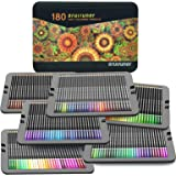 Professional Coloured Pencils, Set of 180 Colours in a Tin Box, Numbered, Soft Wax-Based Cores, for Drawing, Sketching, Shadi