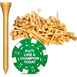Wedge Guys PGA Approved Professional Bamboo Golf Tees 2-3/4 Inch - Free Poker Chip Ball Marker - Stronger Than Wood Tees Biod