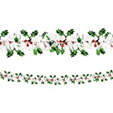 Holly & Berries Tinsel Garland   Christmas Decoration