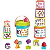 Battat - Sort & Stack - Educational Stacking Cups with Numbers & Shapes for Toddlers, Blue (BT2611Z)