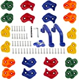 KINSPORY 20pc Colourful Pig Nose Shape Rock Climbing Holds Indoor Outdoor Kids Playground Play Set Building with Two Blue Han