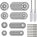 40 Pcs Diamond Cutting Wheel Kit (25mm/22mm/18mm/16mm Each 10), With 8pcs 3mm Mandrel and 2pcs Cross Screwdriver For Rotary T