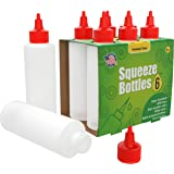 6-pack Plastic Squeeze Bottles Condiment 8-Ounce with Red Twist-Cap Set of 6 8-oz (Perfect for Syrup, Sauce, Ketchup, BBQ, Co