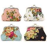 Honbay 4PCS Canvas Floral Coin Purse Kiss Lock Change Purse Vintage Trinkets Pouch