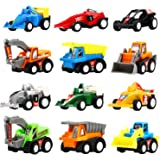 Pull Back Vehicles, 12 Pack Mini Assorted Construction Vehicles & Race Car Toy, Yeonha Toys Vehicles Truck Mini Car Toy for K