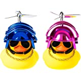 Kaqkiasiog 2 Pcs Rubber Duck Toy Car Ornaments Yellow Duck Car Dashboard Decorations with Take-Copter Helmet for Adults, Kids