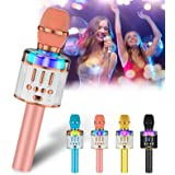 Verkstar Microphone for Kids & Adult Wireless Bluetooth Handheld Karaoke Mic with LED Lights Magic Singing and Recording Spea