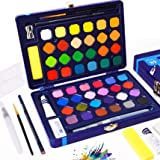 Watercolor Paint Set - 48 Solid AssortedWatercolors Paints Half Pans with Watercolor Brush Pen + 8 Extra Bonuses, Travel Wat