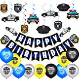 32 Pieces Police Theme Party Decorations Set Police Party Swirls Set Including 20 Police Party Latex Balloons 2 Police Banner