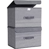 HOKEMP Large Storage Bins with Lids [2-Pack] - Linen Fabric Foldable Storage Box Baskets for Home, Office, Nursery, Closet