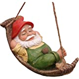 Teresa's Collections 7.3'' Funny Garden Gnomes Outdoor Hanging Statue, Fairy Garden Swinging Leaf Hammock Gnome for Lawn Pati