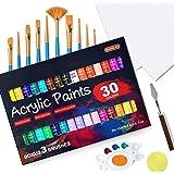 46 Pack Acrylic Paint Set, Shuttle Art 30 Colors Acrylic Paint with 10 Paint Brushes 3 Painting Canvas 1 Paint Knife Palette