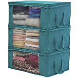 Sorbus Foldable Storage Bag Organizers, Large Clear Window & Carry Handles, Great for Clothes, Blankets, Closets, Bedrooms, a