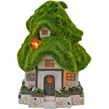 TERESA'S COLLECTIONS Flocked Green House Fairy Garden Statue, Outdoor Resin Statues with Solar Lights, Garden Cottage Figurin