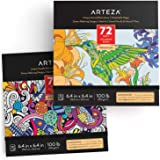 ARTEZA Doodle and Animal Coloring Books for Adults, 2-Pack, Black Outlines, 144 Relaxing Coloring Pages for Relieving Stress
