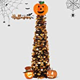 Ceephouge 5ft Collapsible Halloween Christmas Tree, Pop Up Tinsel Pencil Xmas Tree with Pumpkin Sequins for Holiday Decoratio