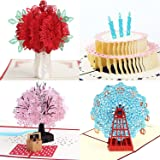 3D Pop Up Greeting Cards 4 Pack Assortment By Aloha Cards | For Birthdays, Thank Yous, All Occasions / Wow Your Loved Ones /