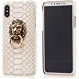 BONTOUJOUR iPhone X/iPhone Xs Case, Creative Chinese Noble Lion Head Door Style Phone Case with Ring Phone Holder at Back, Ul