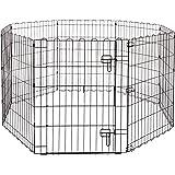 Amazonベーシック ペット 犬用 エクササイズフェンス プレイサークル 折りたたみ可能 金属製 ゲート付き 152 x 152 x 76cm