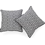 Hofdeco Indoor Outdoor Cushion Cover ONLY, Water Resistant for Patio Lounge Sofa, Black White Greek Key, 45cmx45cm, Set of 2