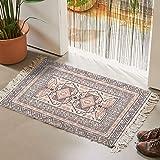 Cotton Area Rug 2' x 3', KIMODE Woven Fringe Throw Rugs Print Tassel Chic Modern Geometric Welcome Door Mat Machine Washable