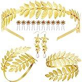 15 Pieces Goddess Costume Accessories Set Including Greek Leaf Bracelet, Golden Leaves Bridal Hair Crown Headband, Artificial