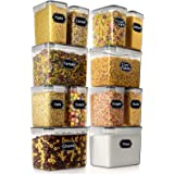 Airtight Food Storage Container - Wildone Cereal & Dry Food Storage Containers Set of 12, Leak Proof & BPA Free, with 20 Labe