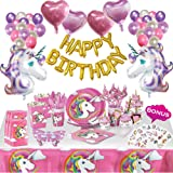 Unicorn Party Supplies Set | 179 pcs Unicorn Birthday Decorations for Girls + Unicorn Party Favors with Tableware kit, Unicor