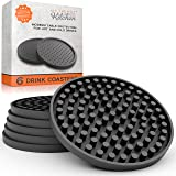 Large Drink Coasters - Absorbs Moisture and Prevents Table Damage, Modern Black Rubber Coaster with Non-Slip Bottom for Drink