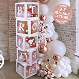 Bridal Shower Decorations Balloon Boxes White- 70pcs Transparent Block with Bride to BE + Groom Letters and 40 Balloons- for