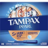 Tampax Pearl Plastic Tampons, Super Plus Absorbency, Unscented, 36 Count,Pack of 2