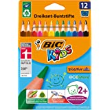 BIC 8297359 Kids Evolution Triangular Colouring Pencils - Assorted Colours, Pack of 12