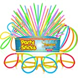 100 Glow Stick Party Pack - 100 Mixed Colour 8 Premium Glowsticks with Connectors to Make Bracelets, Glasses, Flowers, Balls