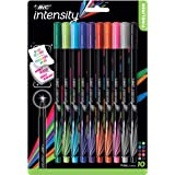 BIC 7355562 Intensity Fineliner Fine Point Pens, 0.4mm – Set of 10 Markers – Assorted Colours, Bold Felt Tip, No Bleed for Wr
