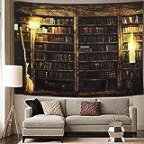 Vintage Library Bookshelf Tapestry Wall Hanging Study Room Picture Art Print Tapestry Retro Bookshelf Wall Art Bohemian Hippi