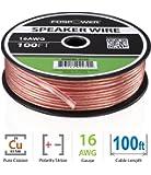 FosPower 16AWG 純銅 高純度OFC スピーカーケーブル/スピーカーワイヤー【16ゲージ | 30メートル】アンプやA/Vレシーバにオーディオスピーカーを接続