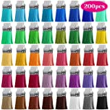 Tassels, Cridoz 200pcs Leather Keychain Tassels Bulk for Crafts, Keychains Supplies, Acrylic Keychain Blanks, Charms, Earring