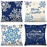 CDWERD 4PCS Christmas Pillow Covers 18×18 Inches Blue Christmas Pillow Covers Snowflake Merry Christmas Pillow Cases Cotton L