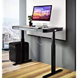 "Seville Classics airLIFT Computer Desk Table, 47"" Height Adjustable, Tempered Black Glass"