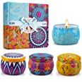 Yinuo Candle Women Scented Candles Set, 100% Soy Wax Portable Tin Candles, Stress Relief and Aromatherapy for Bath Yoga Thank