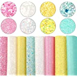 """Superfine Glitter Fabric Faux Leather Sheets 8 Pcs 7.8""""x13.3""""(20cm x 34cm) Chunky Crude Sequins Fabric Canvas Back for Earrin"""