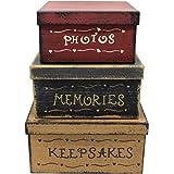 CVHOMEDECO. Primitive Vintage Square Photos, Memories, Keepsakes Cardboard Nesting Boxes, Large 9 X 9 X 4-1/2 Inch. Set of 3.