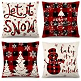 ZJHAI Christmas Pillow Covers 18×18 Inch Set of 4 Farmhouse Black and Red Buffalo Plaid Pillow Covers Holiday Rustic Linen Pi