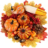 DomeStar Artificial Pumpkins, 19PCS Harvest Fruits with 30PCS Artificial Maple Leaves Fake Pumpkins and Gourds Pine Cones Aco