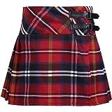 JEATHA Kids Girls Pleated Plaid Mini Skirt Side Split Tartan Kilt with Adjustable Buckle School Uniforms Daily Wear