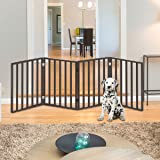 """Wooden Pet Gate- Foldable 4-Panel Indoor Barrier Fence, Freestanding & Lightweight Design for Dogs, Puppies, Pets- 72 X24"""" by"""