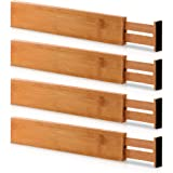 (4) - Kitchen Drawer Organisers Spring Adjustable & Expendable Drawer Dividers, Made of 100% Organic Bamboo - Best for Kitche